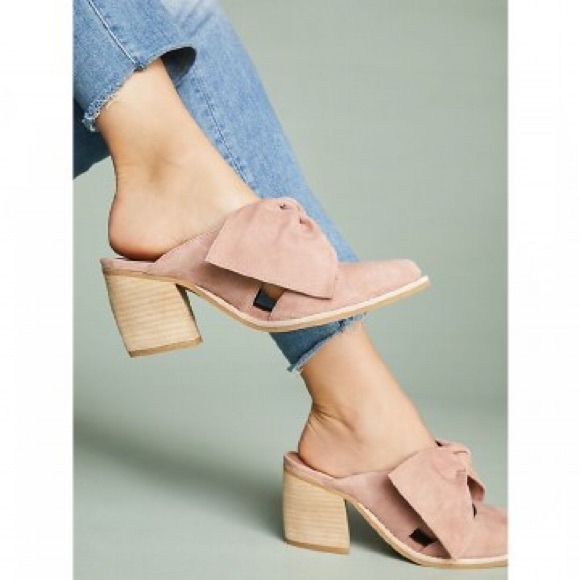 dbcff4a9bfc Jeffrey Campbell Shoes - Jeffrey Campbell Suede Cyrus Bow Mules - Rose